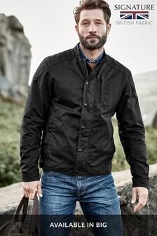 Black Signature British Millerain Wax Biker Jacket