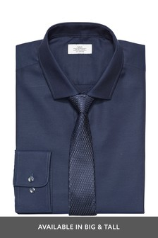 Navy Slim Fit Single Cuff Cotton Tonic Shirt And Tie Set