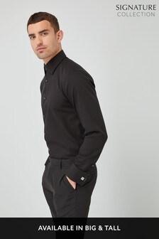 Black Regular Fit Double Cuff Signature Textured Shirt