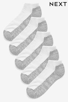 White/Grey 5 Pack Cushioned Trainer Socks