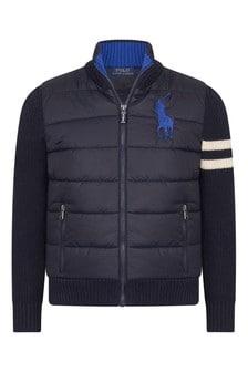 Boys Navy Cotton & Nylon Hybrid Jacket
