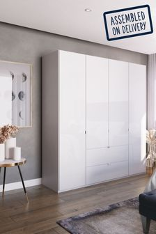 White Glass Monroe Four Door Wardrobe