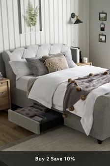 Wool Blend Grey Hartford Sleigh Two Drawer Bed