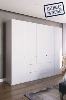 White Matt Monroe Five Door Wardrobe