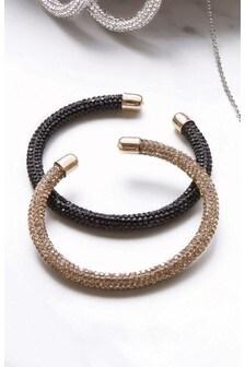Black/Gold Sparkle Tube Bracelets Two Pack