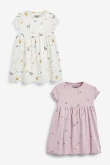 Lilac/Ecru 2 Pack Jersey Dresses (3mths-7yrs)