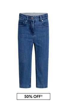 Girls Blue Bicolour Denim Jeans