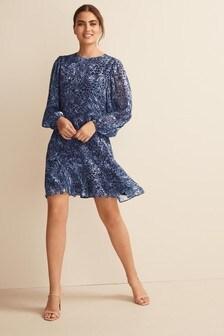 Blue Animal Long Sleeve Flippy Dress