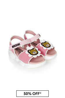 Moschino Kids Girls Pink Leather Sandals