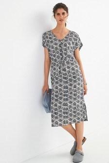 Navy Geo V-Neck Kimono Dress