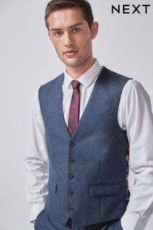 Blue Waistcoat Donegal Slim Fit Suit