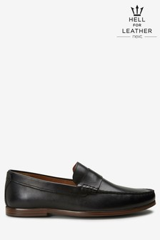 Black Leather Saddle Loafers