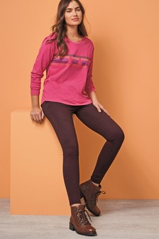 Berry Jersey Denim Leggings