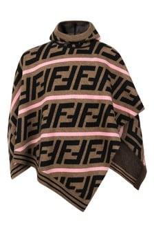 Fendi Girls Brown Wool FF Logo Poncho