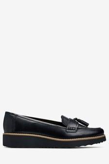 Black  Leather EVA Tassel Loafers