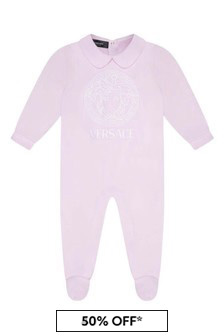 Baby Girls Pink Cotton Logo Babygrow