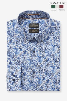 Blue Paisley Slim Fit Single Cuff Italian Fabric Texta Signature Shirt