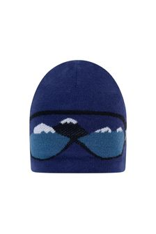 Boys Blue Knitted Goggle Hat