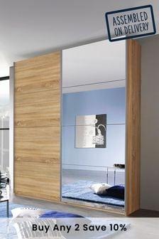 Oak Effect Mirror Cameron 1.81m Sliding Wardrobe By Rauch