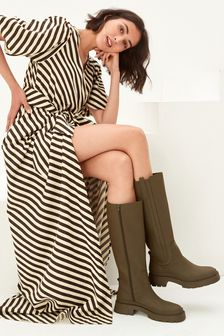 Khaki Forever Comfort Chunky Rubberised Knee High Boots