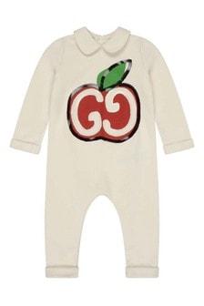 Baby Girls White Cotton Logo Romper