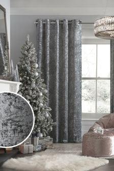 Grey Crushed Velvet Eyelet Lined Curtains