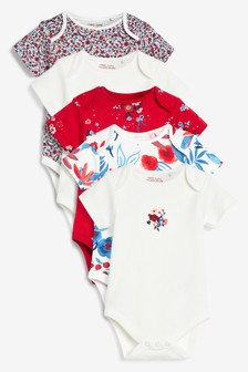 Red Floral 5 Pack Short Sleeve Bodysuits (0mths-3yrs)