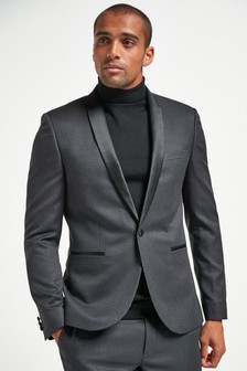Black Puppytooth Skinny Fit Check Suit: Jacket