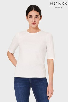 Hobbs White Eva Puff Sleeve T-Shirt