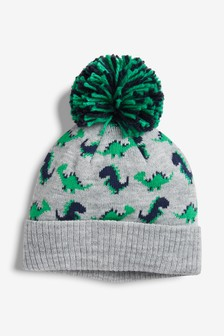 Grey Dino Character Pom Beanie (Younger)