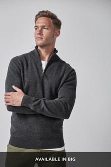 Charcoal Cotton Premium Zip Neck Jumper