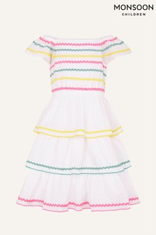 Monsoon Natural Fiesta Ricrac Dress in Organic Cotton