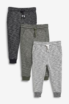 Grey/Khaki 3 Pack Textured Joggers (3mths-7yrs)