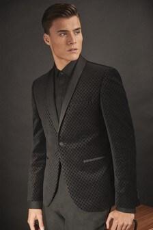 Black Skinny Fit Printed Velvet Tuxedo Jacket