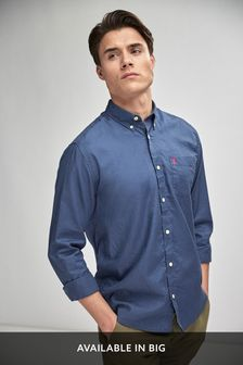 Blue Slim Fit Slim Fit Roll Sleeve Lightweight Twill Shirt