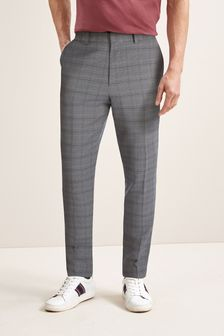 Light Grey Slim Fit Check Trousers With Elasticated Waist