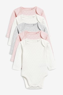 Ecru/Pink/Grey 5 Pack Pointelle Long Sleeve Bodysuits (0mths-3yrs)