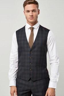Blue/Tan Check Suit: Waistcoat