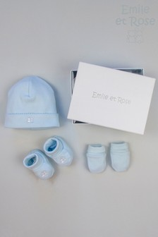 Emile et Rose Blue Hat, Booties And Mitts Gift Set