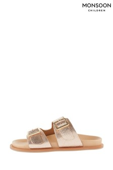 Monsoon Gold Metallic Buckle Sandals