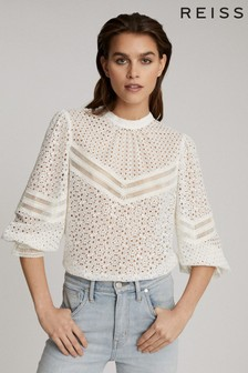 Reiss White Naina Broderie Anglaise Top