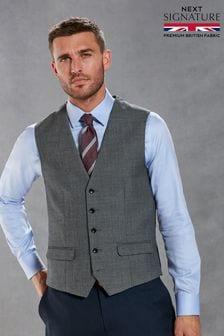 Navy Waistcoat Signature Empire Mills Fabric Birdseye Slim Fit Suit