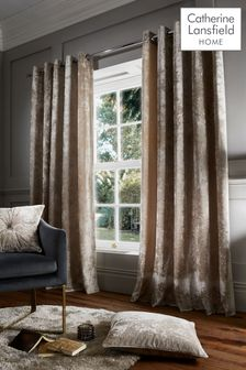 Catherine Lansfield Natural Crushed Velvet Eyelet Curtains