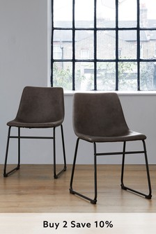 Monza Faux Leather Charcoal Set Of 2 Wyatt Dining Chairs With Black Legs