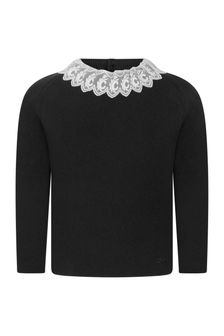 Girls Black Cotton & Wool Knitted Jumper