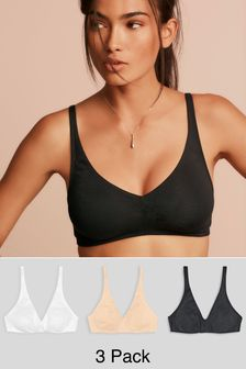 Black/White/Nude Daisy Non Pad Non Wire Cotton Rich Bralettes Three Pack