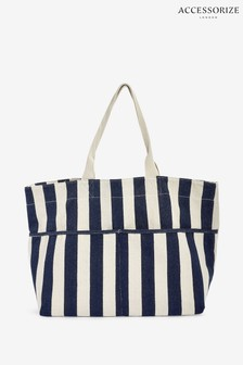 Accessorize Navy Woven Stripe Tote Bag