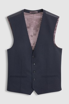 Navy Wool Blend Stretch Suit: Waistcoat