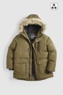 Khaki  Longline Padded Faux Fur Lined Parka (3-16yrs)