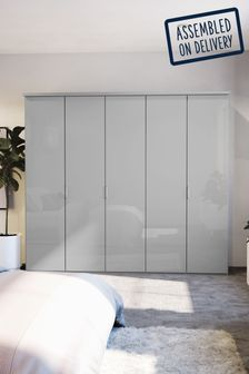 Glass Peyton 2.5M Glass Hinged 5 Door Wardrobe